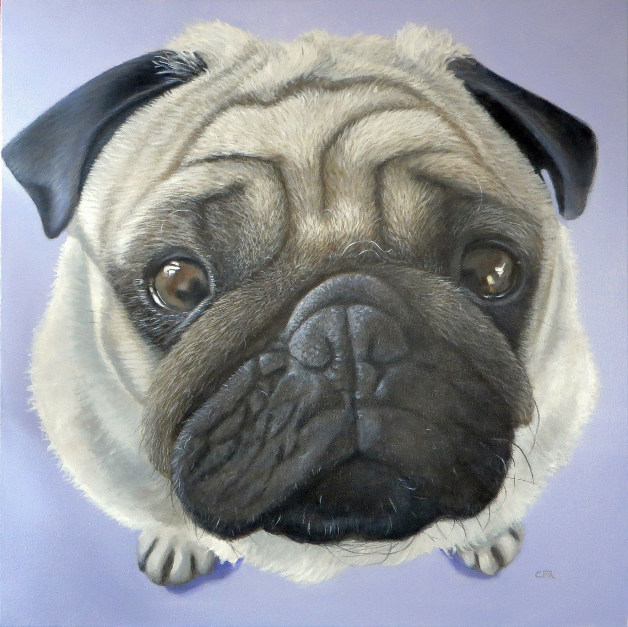 Pug painting, commissioned dog painting