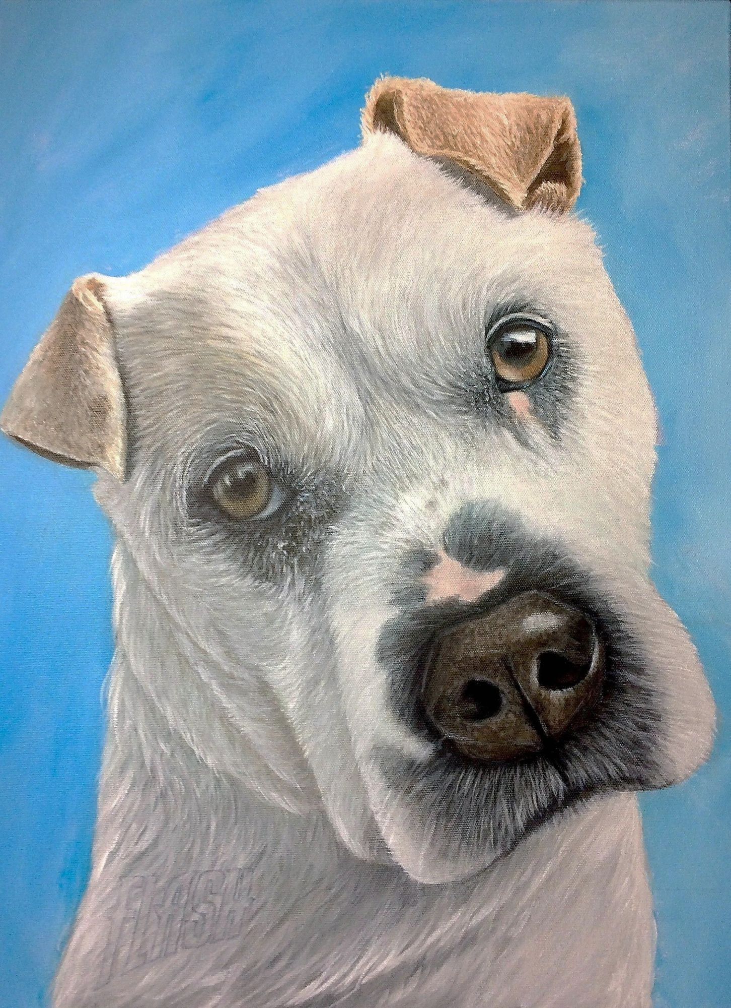 Dog portrait painting, canine artwork