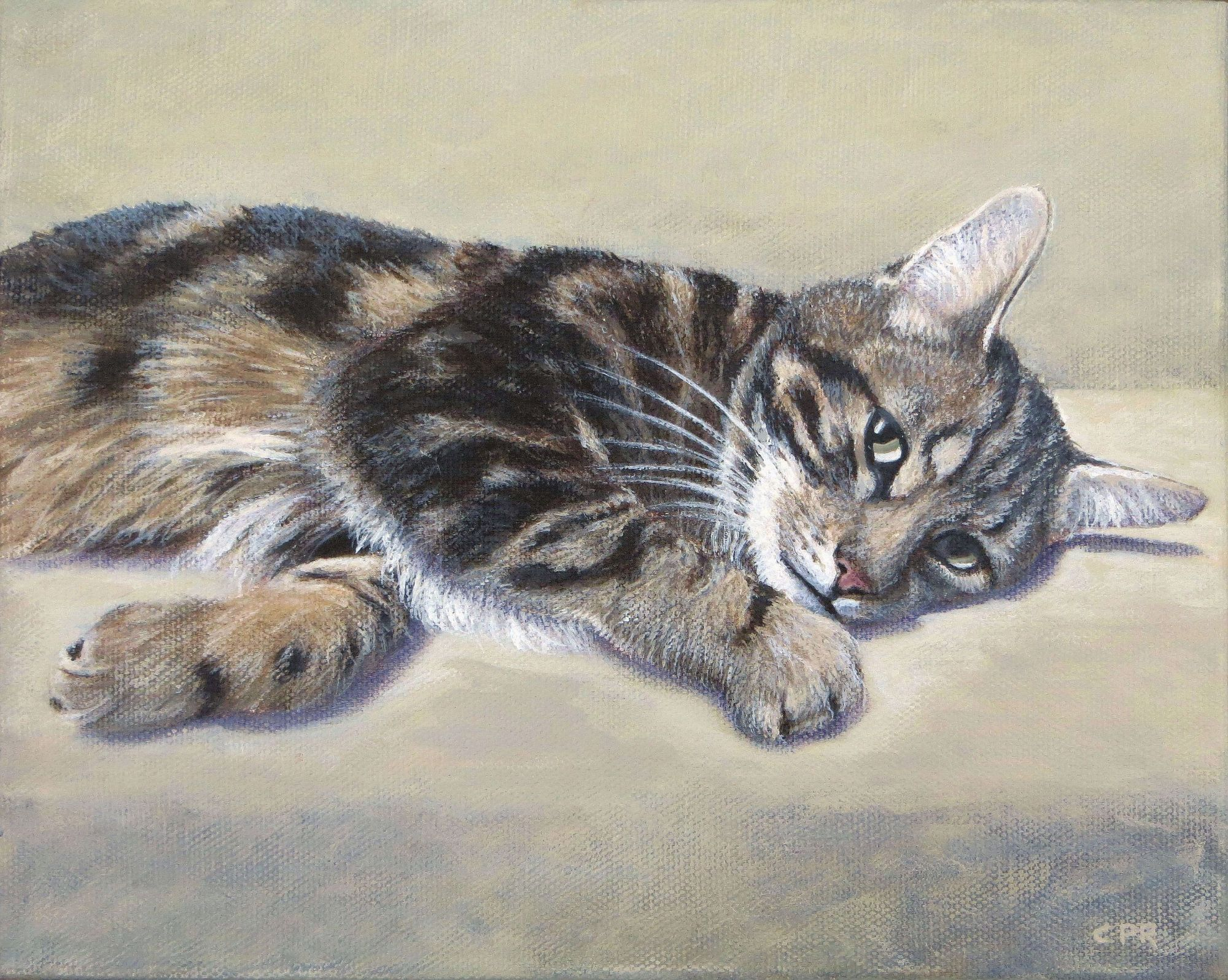 cat painting, feline art commission