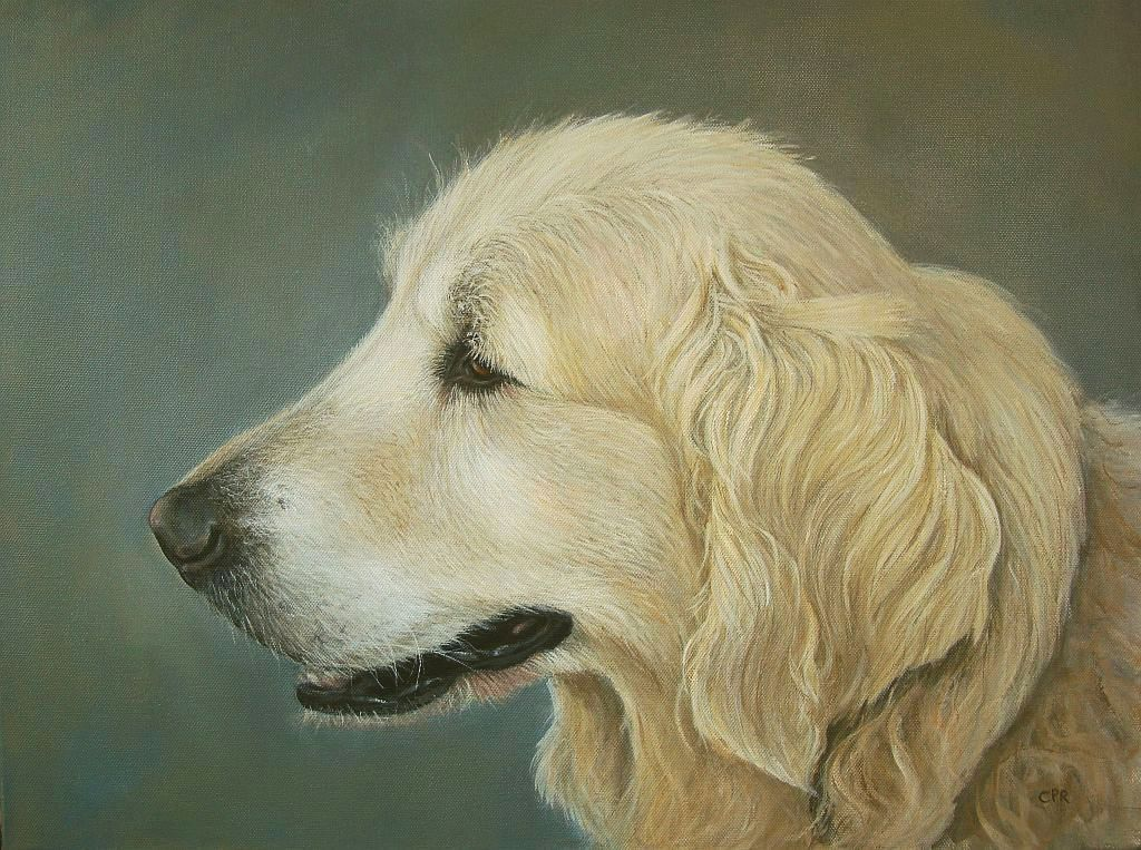 Dog portrait painting, commission