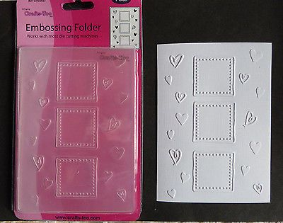 Crafts Too Hearts Frames Embossing Folder A6