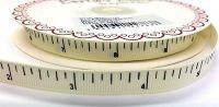 """Bertie's Bows Ivory """"Inches"""" Tape Measure Print 9mm Grosgrain Ribbon"""