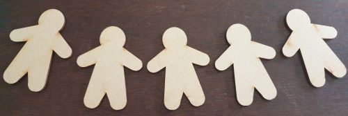 MDF Gingerbread men - pack of 5 - no holes
