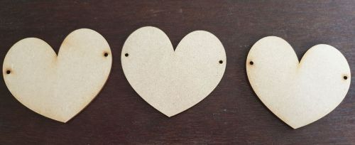 Pack of 3 MDF Hearts (hangs horizontally)