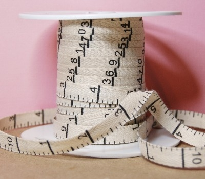 Cotton Twill Tape Measure Tape Inches - Natural 3/8