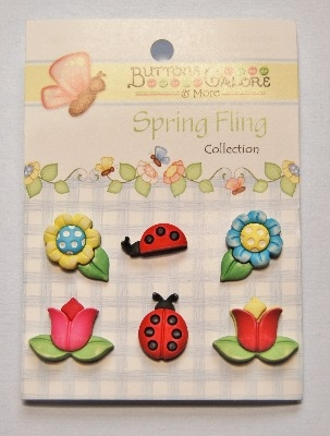 Spring Fling 3D Buttons - Flowers and Ladybugs 6pcs