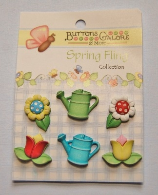 Spring Fling 3D Buttons - Garden Treasures 6pcs