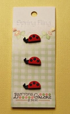 Spring Fling 3D Buttons - Ladybugs 3pcs
