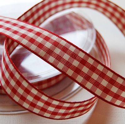 Berisfords Natural Gingham Ribbon - Red 15mm