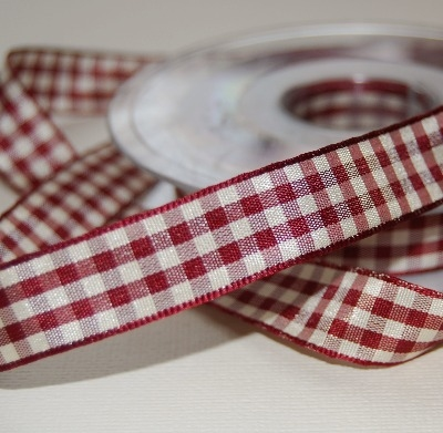 Berisfords Natural Gingham Ribbon - Wine 15mm