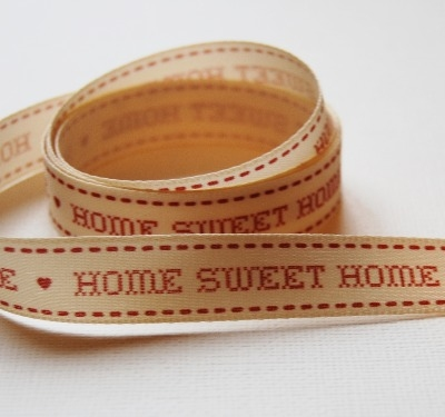 Berisfords Home Sweet Home Ribbon - Red/Cream 15mm