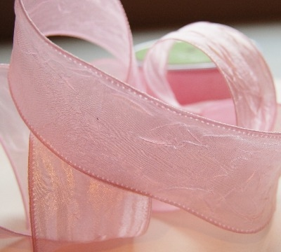 Silky Crush Ribbon - 2 inch wired pale pink