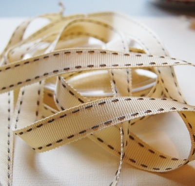 Berisfords Vintage stitched ribbon - 15mm cream/grey