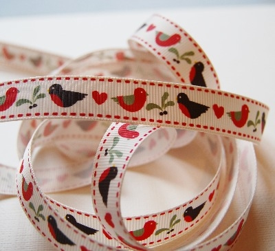 Berties Bows Robin and Mistletoe print grosgrain - 16mm