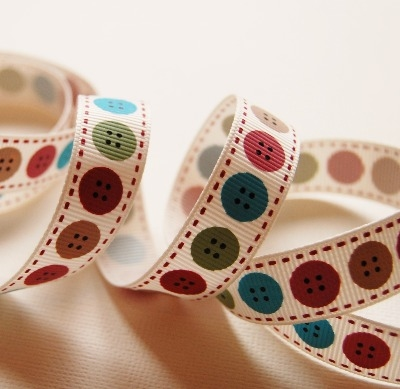 Berties Bows Button Print - 16mm