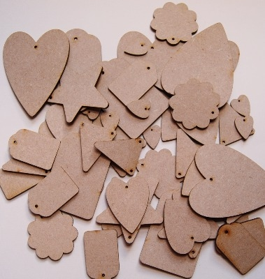 Pack of 52 assorted mdf shapes