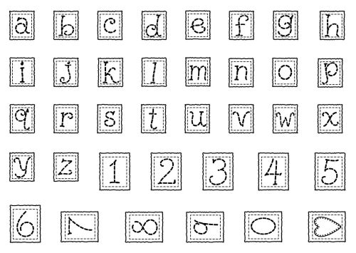 A6 Stitched Alphabet Lower Case and Numbers