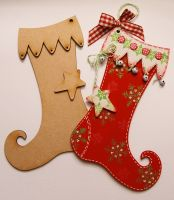MDF Christmas Stocking Kit (includes bells and ribbon)
