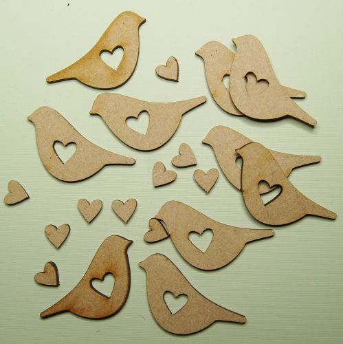 Bird with heart cut out