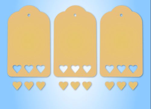 MDF Pack of 3 Large Tags with Heart Cut Out