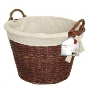 Round Wicker Log Basket with Jute Lining