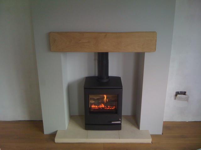 NEW CL5 Gas oak beam stone hearth