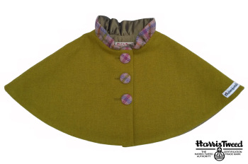 'Harris Tweed' Collared Cape (Olive Green) Sizes 0-1 years to 7-8 years