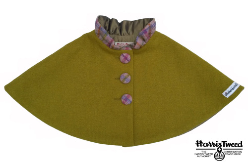 Harris Tweed Collared Cape (Olive Green)