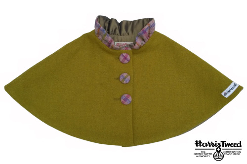 'Harris Tweed' Collared Cape (Olive Green) Sizes 7-8 years