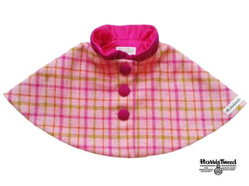 'Harris Tweed' Collared Cape (Bright Pink Check) Sizes 5-6 years