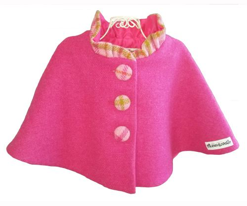 'Harris Tweed' Collared Cape (Bubblegum Pink) Sizes 1-2 years