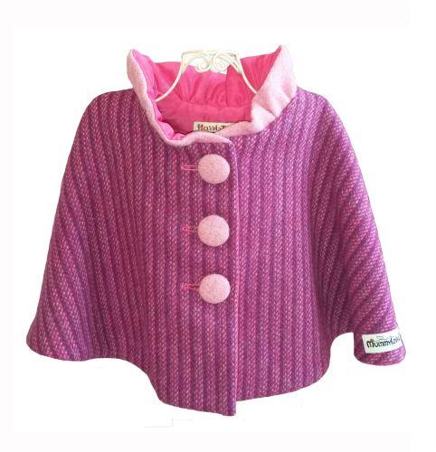 'Harris Tweed' Collared Cape (Purple Kaona) Sizes 2-3 years