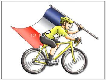 cyclist France yellow plain c