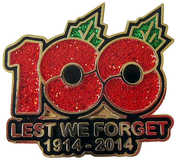 100 Years Lest We Forget Remembrance Day Poppy Enamel Pin