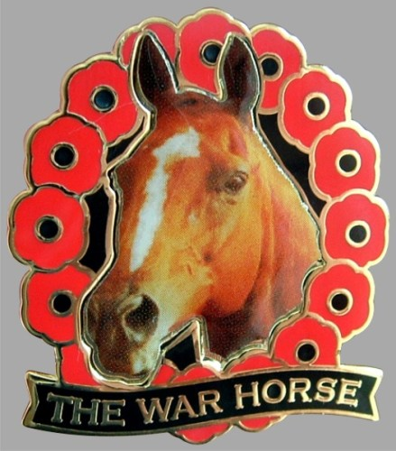 THE WAR HORSE REMEMBRANCE DAY POPPY ENAMEL PIN BADGE