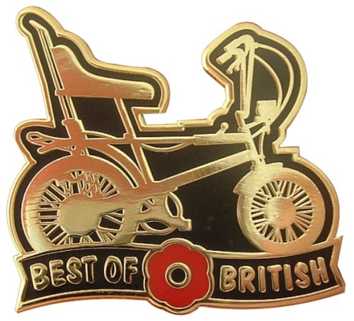 BEST OF BRITISH RALEIGH CHOPPER REMEMBRANCE POPPY DAY ENAMEL PIN BADGE