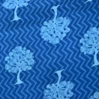 Indigo Blue Swirly Tree zigzag background