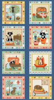 Crafty Cats by Makower Panel Blue 1729/1