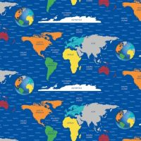 Blank Quilting World Map Fabric