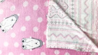 Cuddle Fleece- Pink Polar Bear and Fairisle