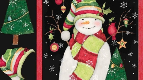 Stay warm- Snowman Christmas Panel
