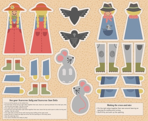 A328 Cut out Sam & Sally Scarecrow (digital print)