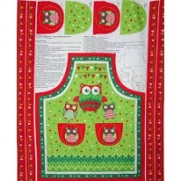 Christmas owl apron panel