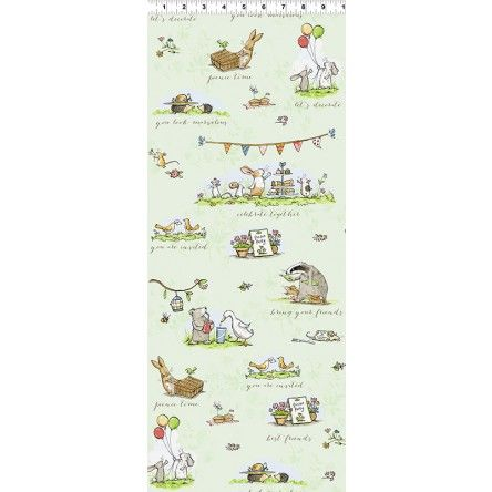 Garden Party by Anita Jeram Y2735-23 Light olive Garden scenes