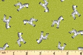 Makower Jungle Friends Green Zebras 2201