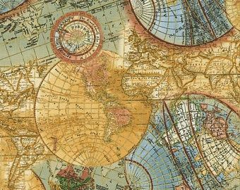 Timeless Treasures Globe Map CM6894