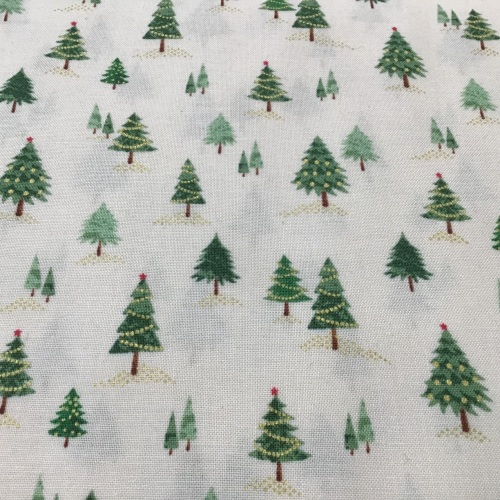 Makower Pine trees on cream D#2101