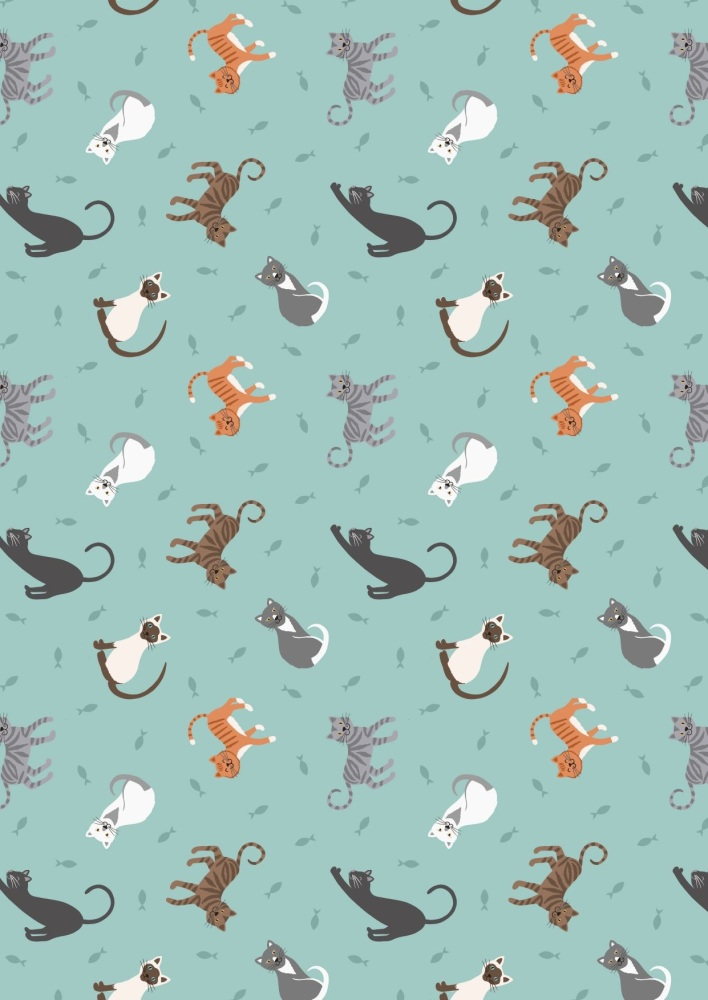 Cats on Pale Grey SM 28.1