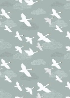 Lewis & Irene Down by the River- Swans in Flight on Pale Blue/Grey A221-1