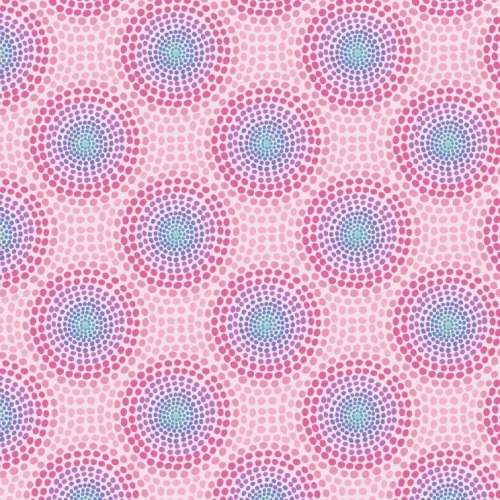 Sew Mindful - Rainbow Circles on Pink A263.2